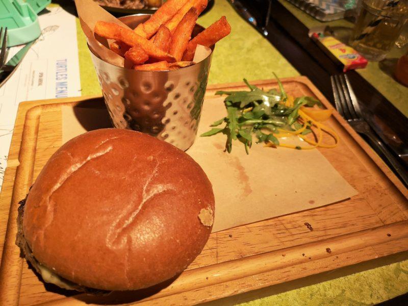 Turtle Bay Street Burger with Sweet Potato Fries