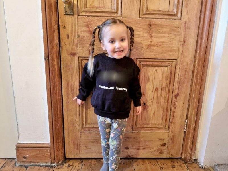 Erin's first day at the Montessori nursery