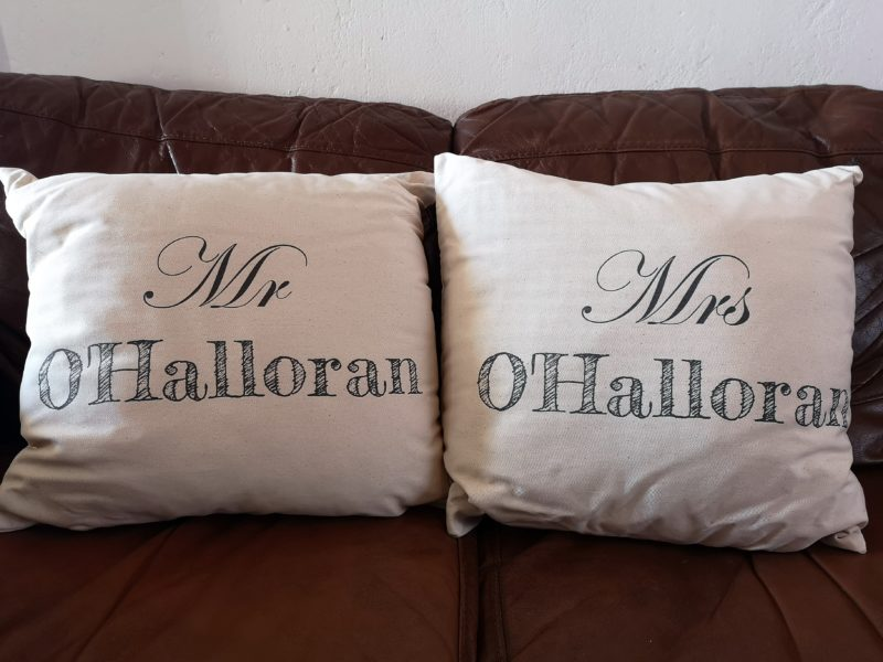 matching name cushions from GiftPup