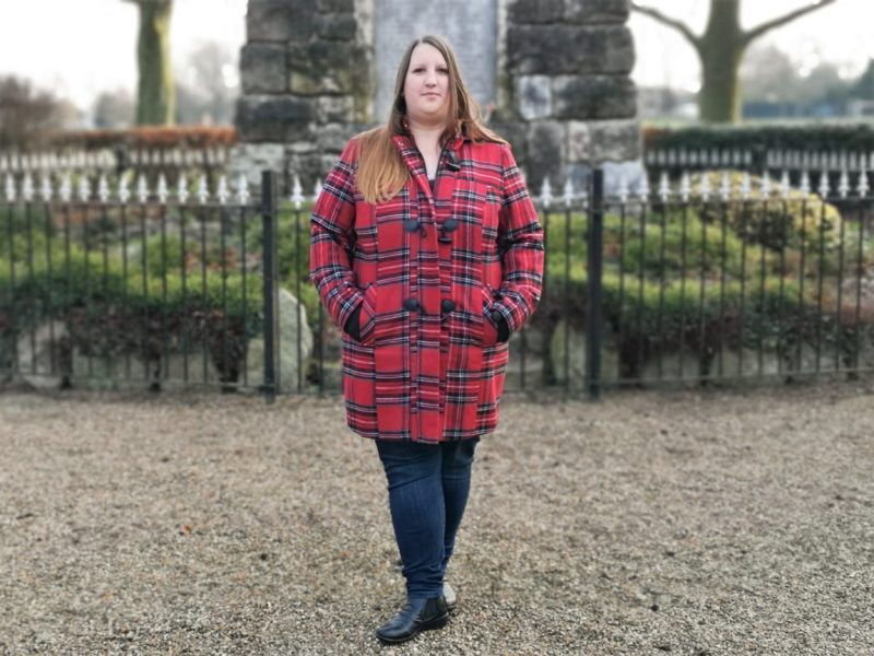 Fashion World red check duffel coat