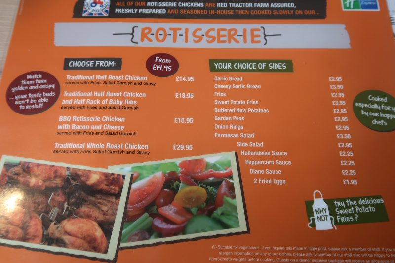 Dining At The Holiday Inn Express London - Stansted Airport Hotel rotisserie menu